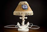 Деревянная белая настольная лампа, Якорь с вышитым абажуром., фото 4