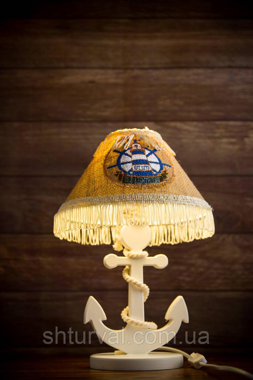 Деревянная белая настольная лампа, Якорь с вышитым абажуром.