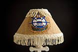 Деревянная белая настольная лампа, Якорь с вышитым абажуром., фото 6