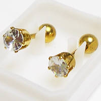 Для пирсинга козелка уха микроштанга с прозрачным кристаллом 4мм. Медицинская сталь, золотое анодирование., фото 1