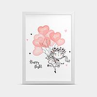 Постер на стену в детскую Девочка и воздушные шарики 20*30 см