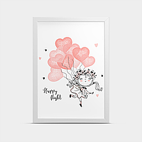 Постер на стену в детскую Девочка и воздушные шарики 30*40 см