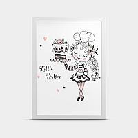 Постер на стену в детскую Девочка и торт 30*40 см