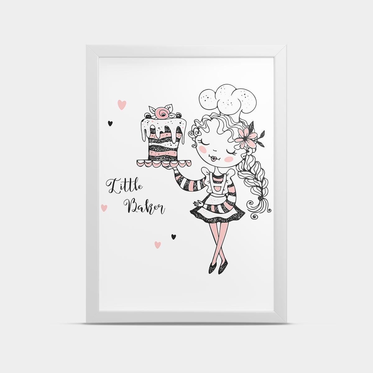 Постер на стену в детскую Девочка и торт 20*30 см