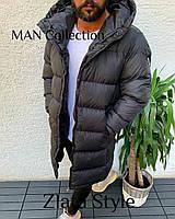 Мужская стильная удлиненная куртка плащевка на синтепоне