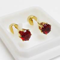 Для пирсинга козелка уха микроштанга с рубиновым кристаллом 4мм. Медицинская сталь, золотое анодирование., фото 1