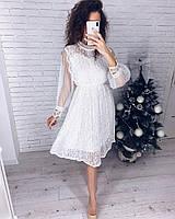 Гипюровое красивое платье женское с длинным прозрачным рукавом Цвет белый