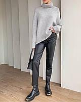 Штани жіночі стильні теплі з еко шкіри на флісі з кишенями Bl149