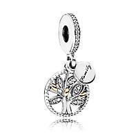 Серебряно-золотая шарм-подвеска «Семейное дерево» Pandora, 791728CZ