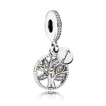 Серебряно-золотая шарм-подвеска «Семейное дерево»