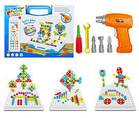 """3D Пазл Creativ Puzzle 4 в 1 конструктор """"Болтовая мозаика"""" с электроотверткой (193 детали) (14581)"""