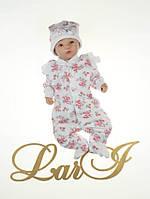 """Человечек с шапочкой """"Rose"""" с открытыми ручками, для новорожденных деток. Белый"""