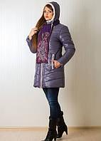 Элегантная молодежная курточка на зиму с шарфом