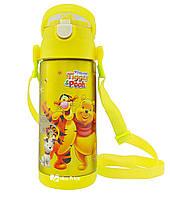 Термос детский с поилкой и шнурком на шею Disney 603 350 мл Винни Пух Желтый