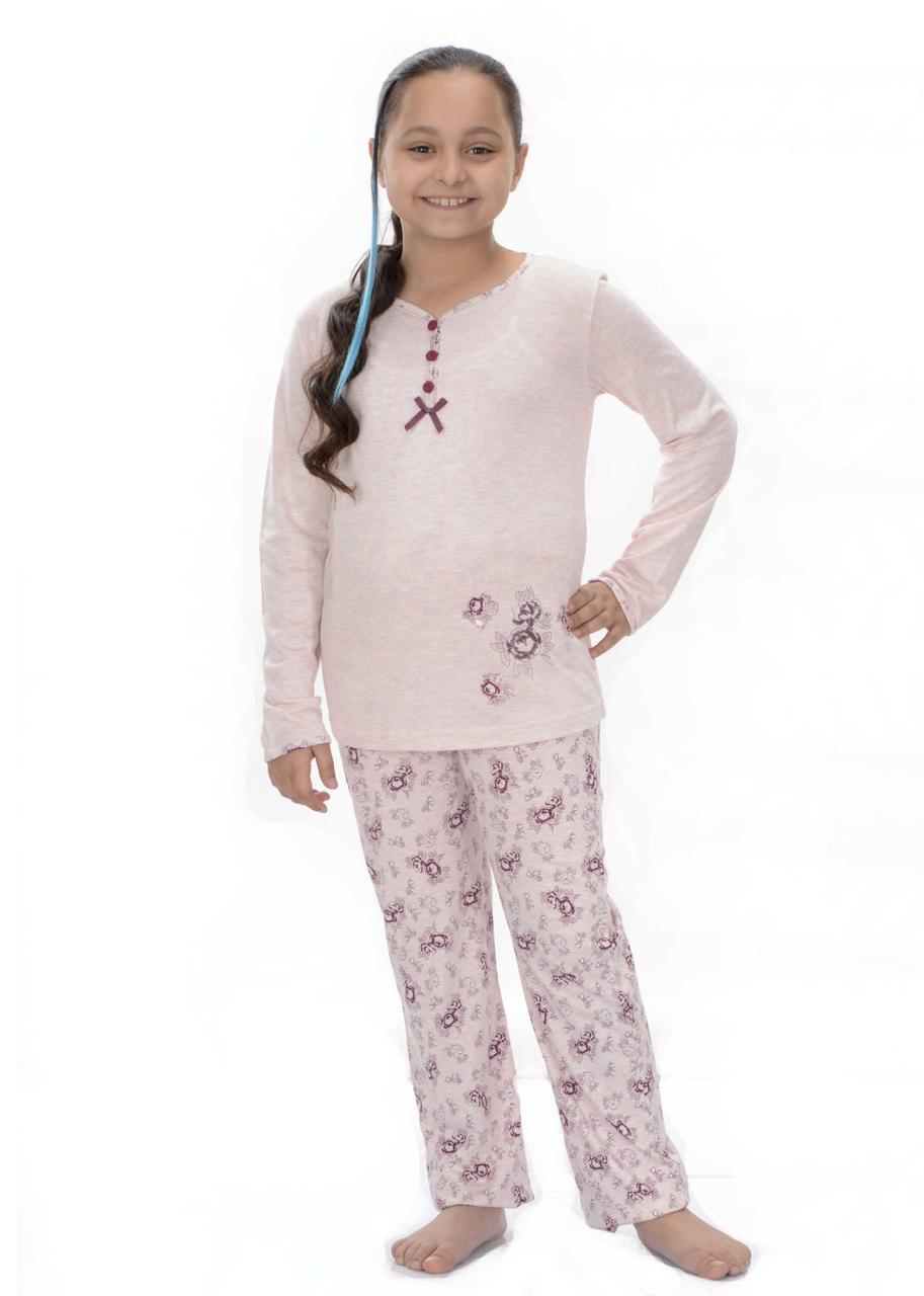 Трикотажная бежевая пижама с цветочным принтом для девочек 8-16 лет