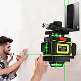 Лазерный уровень Hilda 4D 16 линий с дисплеем заряда ➜ ПУЛЬТ ➜ Зеленые лучи, фото 2