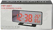 Зеркальные LED часы с будильником и термометром VST-888Y Black (зеленная подсветка) (7006), фото 4