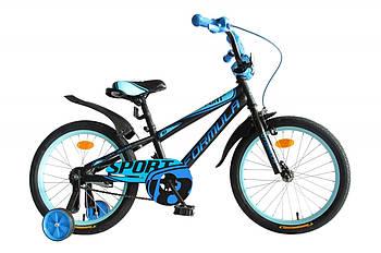 """Детский двухколесный велосипед 18"""" с дополнительными колесами Formula SPORT Черный (OPS-FRK-18-059)"""