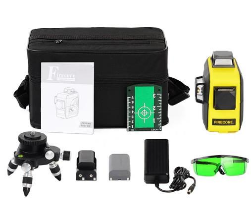 Лазерный уровень FIRECORE F93T-XG 3D 12 линий с треножкой, АКБ и очками - Зеленые Лучи