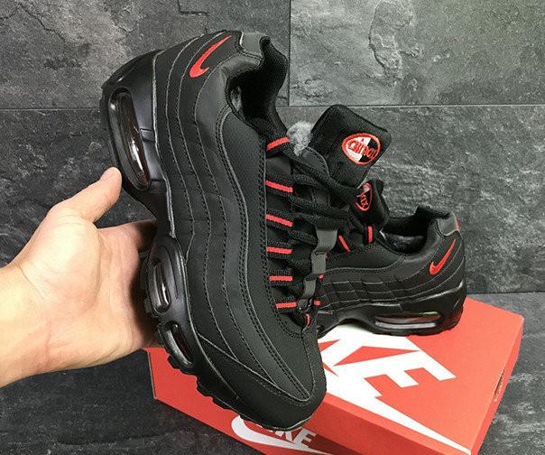 Кроссовки Nike Air Max 95 Black Red Черные зимние с мехом