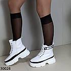 Демисезонные женские белые ботинки, экокожа, фото 2