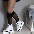 Демисезонные женские белые ботинки, экокожа, фото 3