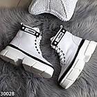 Демисезонные женские белые ботинки, экокожа, фото 4
