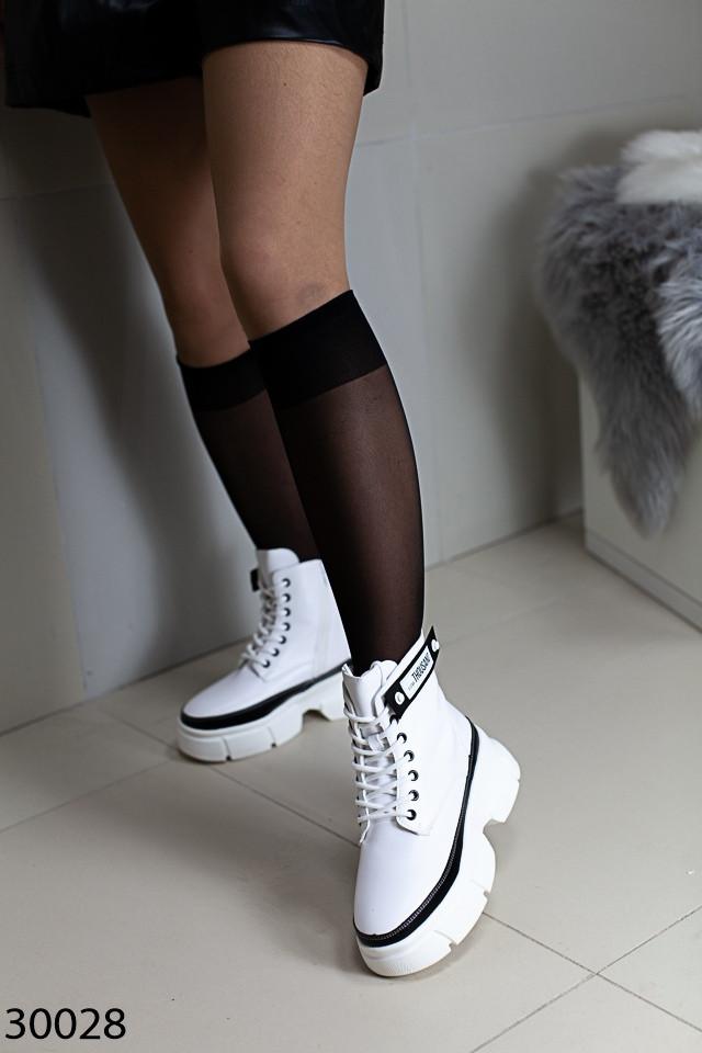 Демисезонные женские белые ботинки, экокожа
