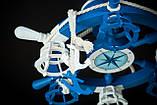Люстра штурвал деревянная синяя  с компасом  на 6 лампочек, фото 5