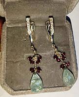 Серьги серебряные с аквамарином и гранатом  от Студии  www.LadyStyle.Biz, фото 1