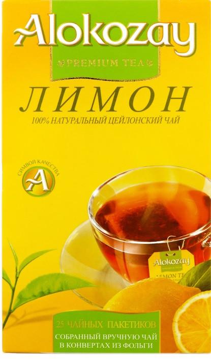 Чай чёрный ALOKOZAY с ароматом и вкусом лимона 25 пакетиков