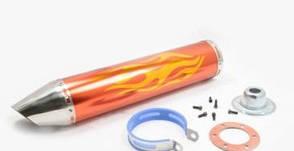 Глушитель для мототехники 420 * 100 мм, кр Ø78 мм тюнинг нержавейка, пламя, золотой, прямоток