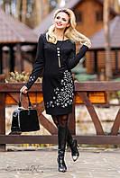 Стильное женское черное платье до колен с длинными рукавами, фото 1