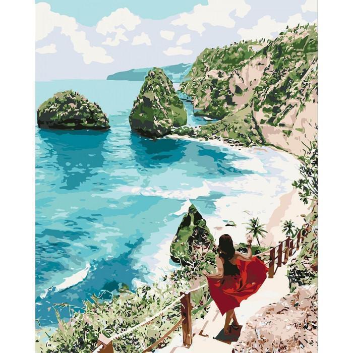 Картина рисование по номерам KHO4734 Идейка Бриллиантовый пляж 40х50см набор для росписи по цифрам, краски,