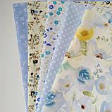 Набор хлопковой ткани для рукоделия из 5шт. мелкие точки, фото 3