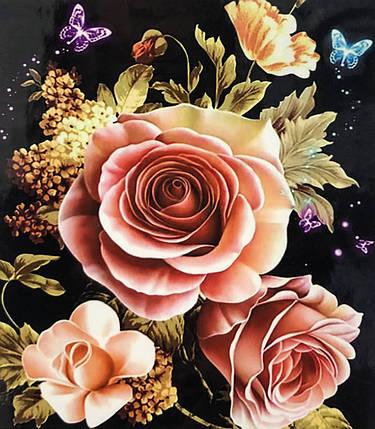 """Алмазная Мозаика на подрамнике . Набор алмазной вышивки на подрамнике  """"Розы"""". Размер 30*40 см., фото 2"""