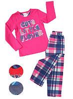 Байковая пижама с надписью Flower для девочек 3-8 лет