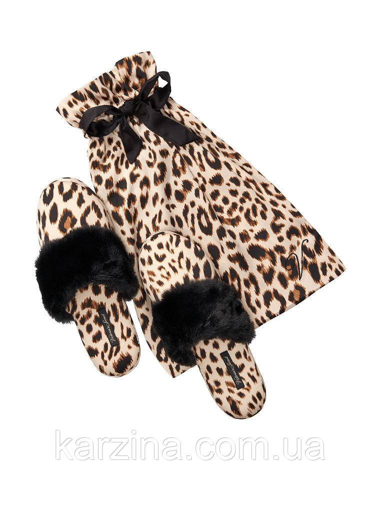 Атласные тапочки в мешочке леопард Victoria's Secret  р.М ( р.37-38 )