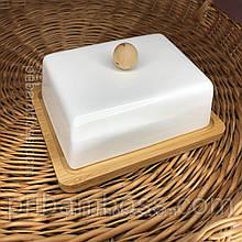 Маслянка фарфорова з бамбуковою підставкою
