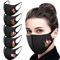Захисна багаторазова маска напівмаска пітта тканинна з новорічним принтом