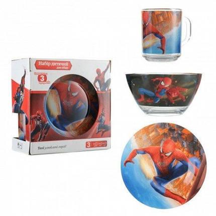 Детская стеклянная посуда Человек Паук Детский набор Спайдермен посуды ABC, фото 2