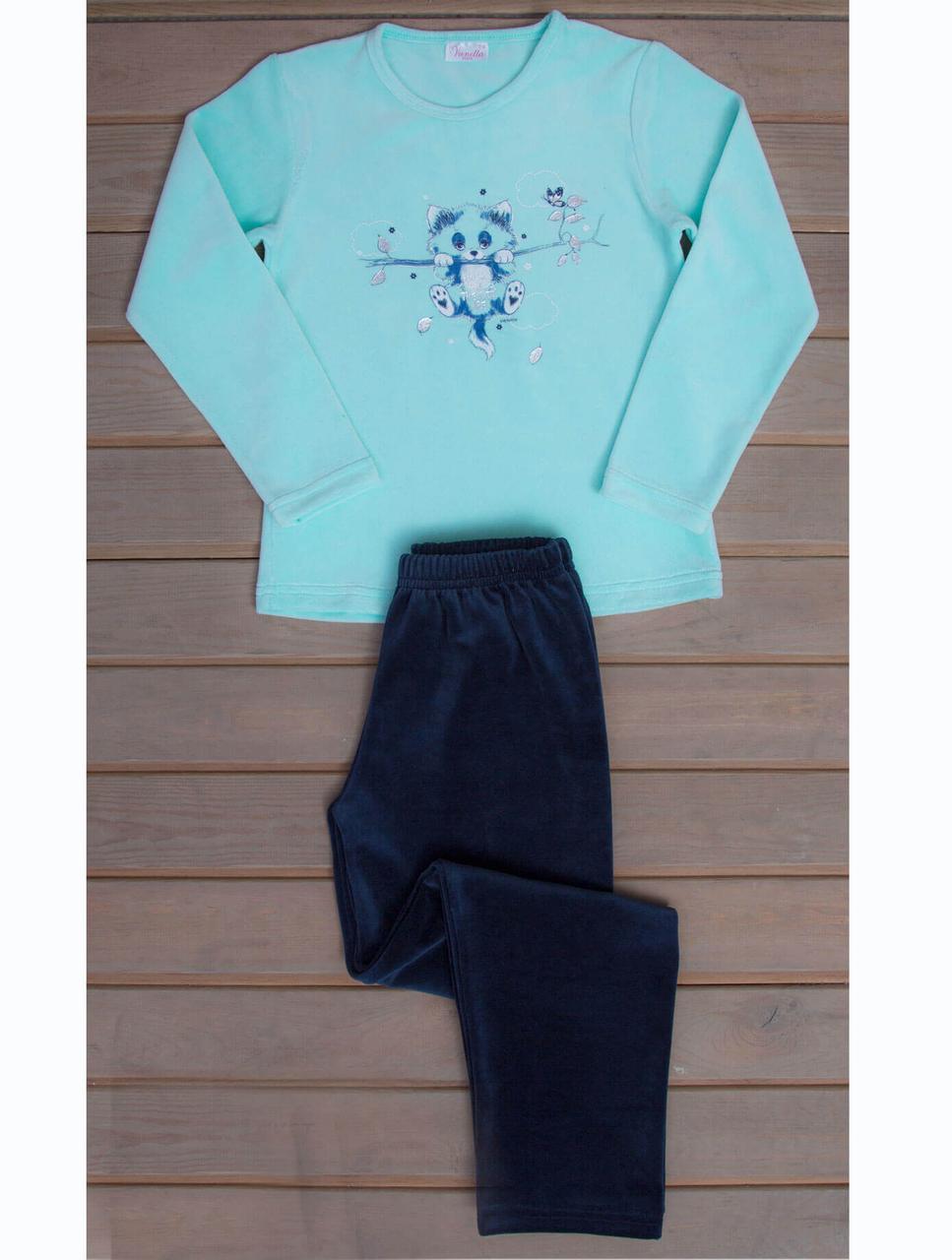 Велюрова піжама з принтом кошеня на гілці для дівчаток 7-14 років