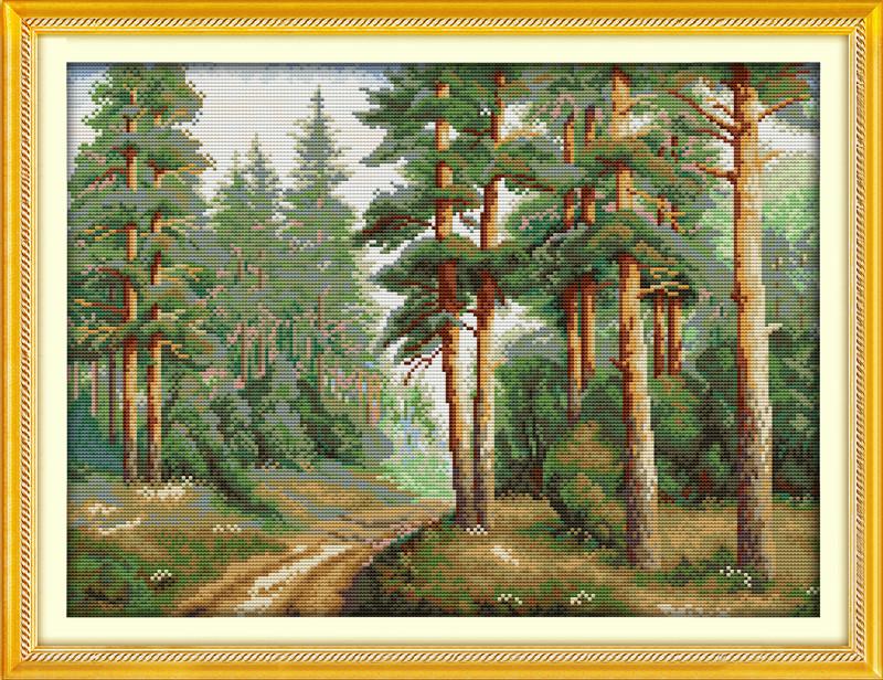 Набор для вышивания крестом NKF Сосновый лес 14ст F678