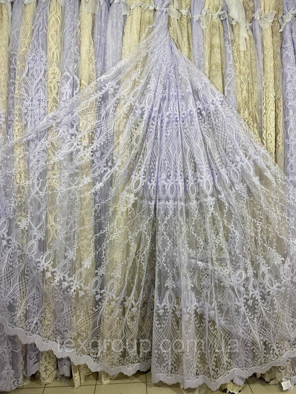 Красивая фатиновая гардина с люрексовой нитью №116185 на отрез