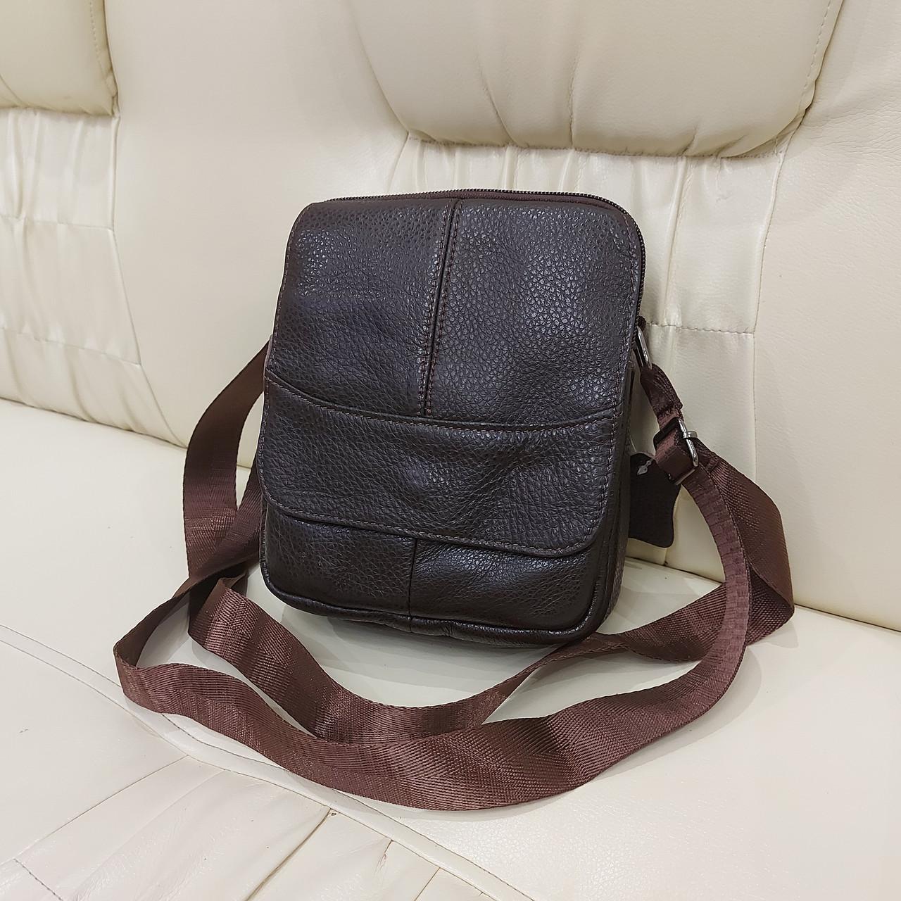 Городская мужская сумка из натуральной кожи кофейная