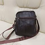 Городская мужская сумка из натуральной кожи кофейная, фото 4
