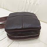 Городская мужская сумка из натуральной кожи кофейная, фото 3