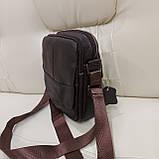 Городская мужская сумка из натуральной кожи кофейная, фото 5