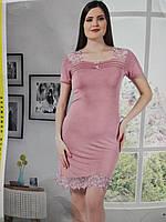 Домашняя женская одежда, пыльно розовая вискозная ночная рубашка для сна, размер 46(M).