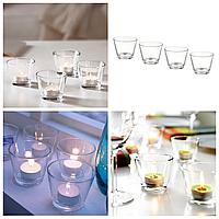 Набор подсвечников IKEA GALEJ для чайных греющих свечей таблеток, прозрачное стекло 4 штук ИКЕА ГАЛЕЙ